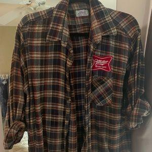 Tops - Vintage Miller Lite Patch Flannel Plaid 90s Grunge